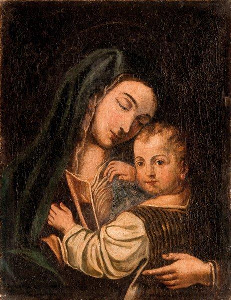 Scuola italiana, secolo XVII Madonna con Bambino