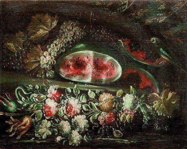 Scuola napoletana, secolo XVIII Anguria, uve bianche e