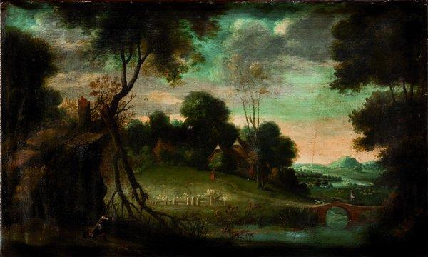 Scuola fiamminga, prima metà del secolo XVIII Paesaggio
