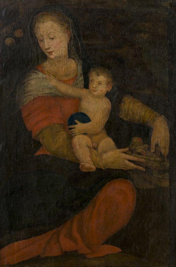 Scuola dell'Italia centrale, secolo XVII Madonna con Ba