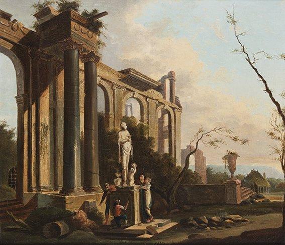 Scuola bolognese, secolo XVIII Coppia di capricci archi