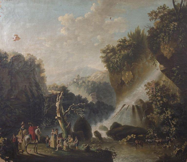 Scuola danese, 1820 Veduta delle Cascate del Teverone a