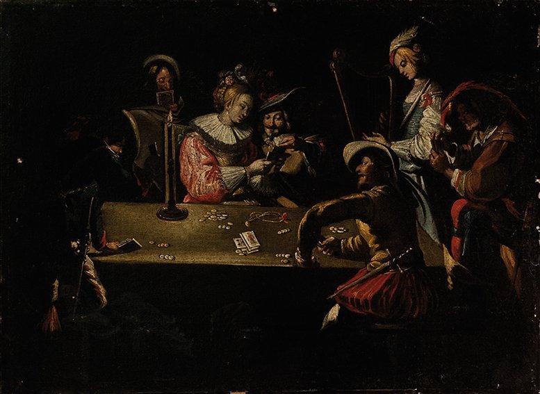 Seguace di Adam de Coster Giocatori di carte
