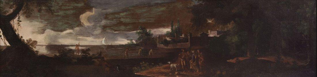 Scuola romana, secolo XVII Paesaggio costiero con