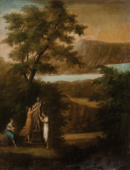 Seguace di Claude Lorrain Paesaggio con figure che