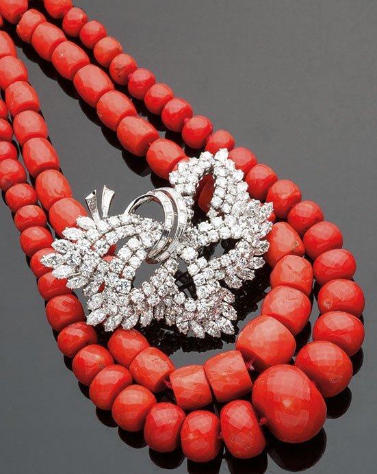 Collana di antico corallo rosso Mediterraneo