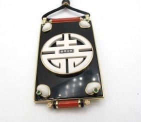 Pendente Di Forma Geometrica Con Simbolo Sacro Cinese