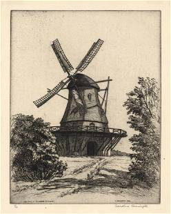 Caroline Armington Old Mill Sweden Etching