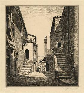 John Taylor Arms Courtyard Italy Etching