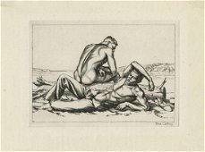 Paul Cadmus, Two Boys on a Beach, Etching