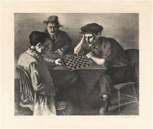 Nicolai Cikovsky The Players Lithograph