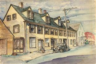 Herbert S Kates Street Scene Watercolor