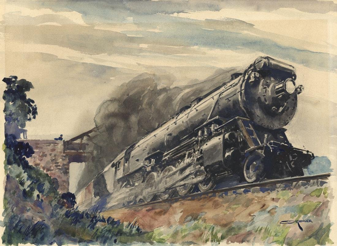 Otto Kuhler, Locomotive, Watercolor
