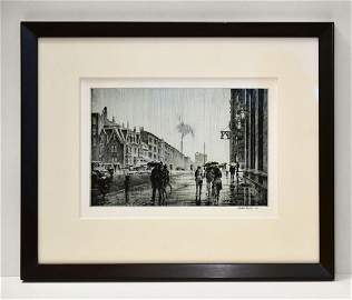 Martin Lewis, Rain on Murray Hill, Drypoint