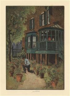 Charles Mielatz Covered Porch Original Etching