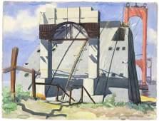 Charles Pont Whitestone Bridge  Watercolor