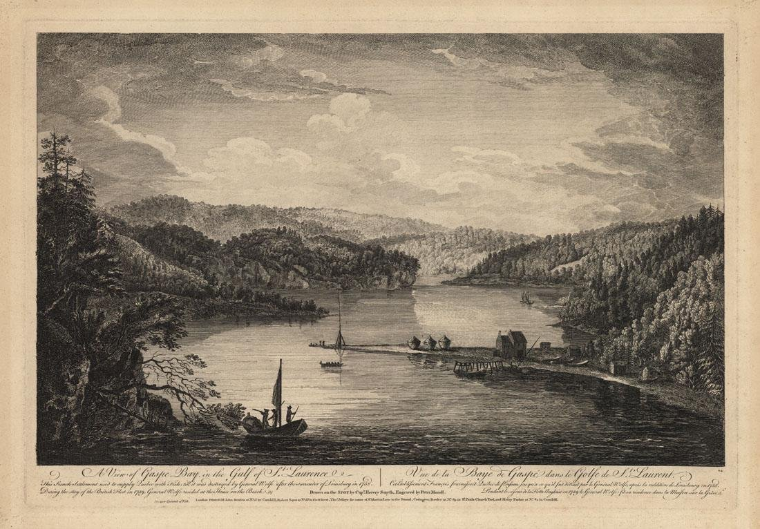 View of Gaspe Bay, Canada, Engraving c.1760