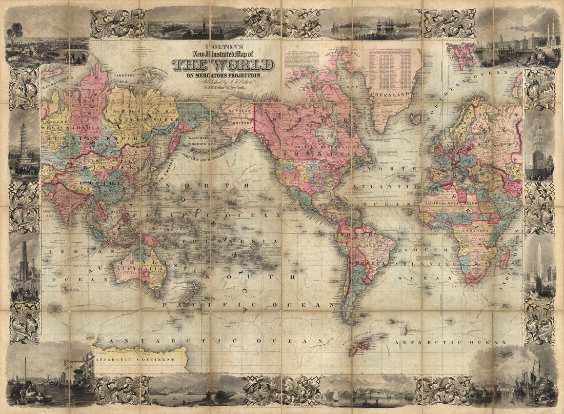 Map of the World, Published by Colton 1853