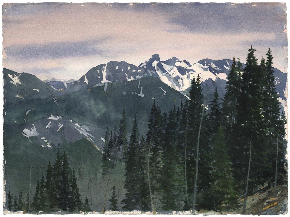 Wayne Davis, Rocky Mountains, Watercolor