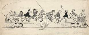 Louis M Glackens BusDay Ink Drawing