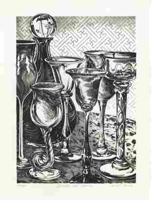 W A S Hatch Decanter and Glasses Lithograph