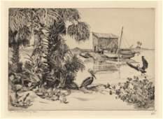 Walter R. Locke, On Pelican Key, Fla, Etching