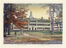 Louis Novak, Dartmouth Hall, Color woodcut