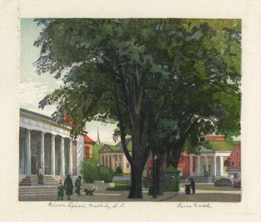 Louis Novak, Dixon Square, R.I., woodcut