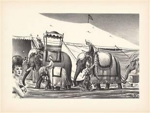 Raymond Creekmore Orig. Litho. Circus Elephants