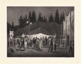 Martin Lewis Original Drypoint Circus Night