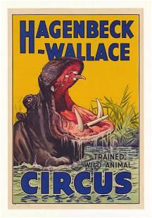 Original Circus Poster Hagenbeck-Wallace HIPPO