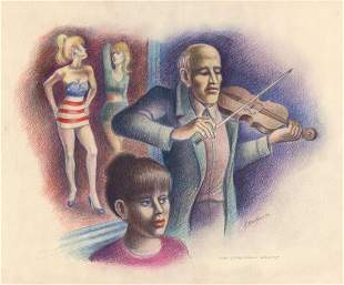Abe Blashko Original Drawing Violinist