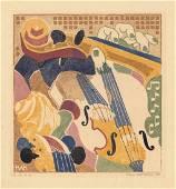 Helen West Heller Original Color Woodcut Music