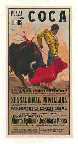 Original Bull Fighting Poster Plaza de Toros
