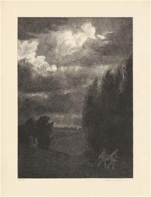 Albert Barker Gather Clouds Original Litho