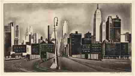 Howard Cook, West Side, New York, Wood Engraving