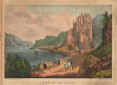 Currier Ives View on the Rhine Original Litho