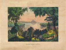 Currier  Ives Saratoga Lake Original Litho
