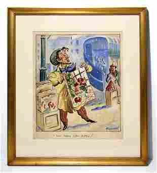 Don Freeman Original Satire Gouache Painting