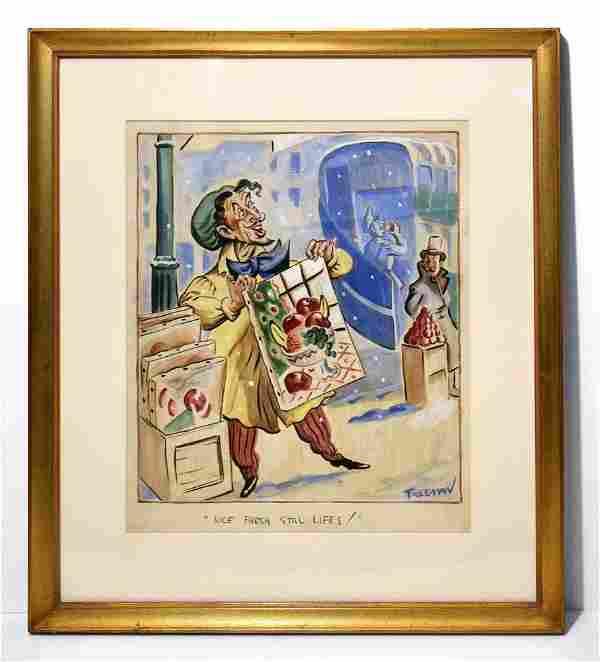 Don Freeman, Original Satire Gouache Painting