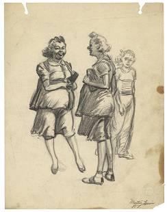 Martin Lewis Original Study Drawing