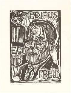 Irving Amen, Sigmund Freud, Woodcut