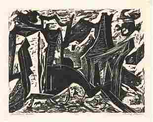 Irving Amen, Slaughter Houses, Woodcut