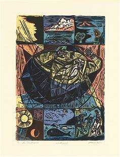 Irving Amen, The Creation, Color Woodcut