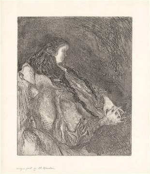 Al Blaustein Untitled Woman Sitting Etching