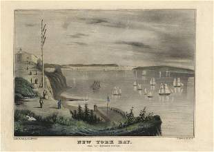 N Currier New York Bay Lithograph