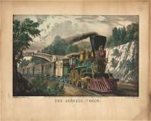 Currier  Ives  The Express Train  Lithograph
