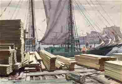 Gordon Grant, The Lumber Wharf, Watercolor