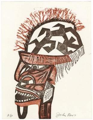 John Ross New Ireland Mask Collagraph