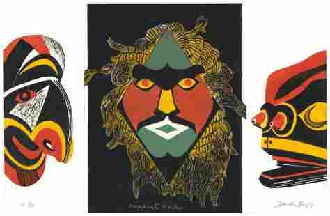 John Ross Kwakiutl Masks Collagraph